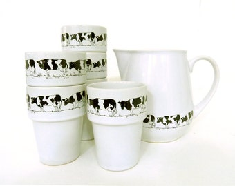 Vintage Porcelain Dishes | Polish milk pitcher and cup set, Milk jug with cow art, Childs 6 cups, Dairy  cows, Tumbler,cups