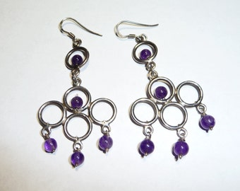 Vintage Sterling Silver & Amethyst BOHO Chandelier Earrings on Etsy by APURPLEPALM