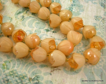Vintage Plastic Peach Flower Bud Hong Kong Double Strand Necklace