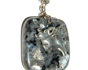 Flying Pig n Labradorite Necklace, When Pigs Fly Necklace, Silver Black and Gray Pigasus Pendant Necklace, Pig with Wings Necklace