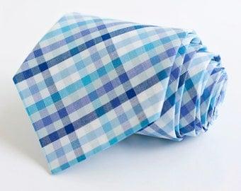 men's navy, aqua, and purple organic madras plaid necktie