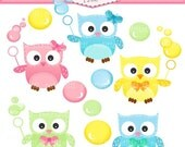 ON SALE owl clip art - Digital clip art - Owls and bubble clip art, instant download, owl clip art, cute owls clip art