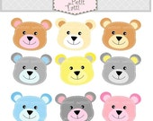 ON SALE Teddy bears head - Digital clip art, stitch teddy bear clip art, cute Teddy bear clip art, Instant download