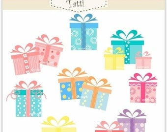 ON SALE Digital clip art. gift boxes , INSTANT Download Digital clip art gift boxes , present