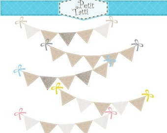 ON SALE Bunting clip art, burlap bunting clip art > bunting clip art, flag banner, instant download