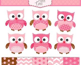 ON SALE owls Digital clip art - digital paper - owl clipart, girls owl clip art, cute owls clip art, hoot owls, pink digital paper, INSTANT