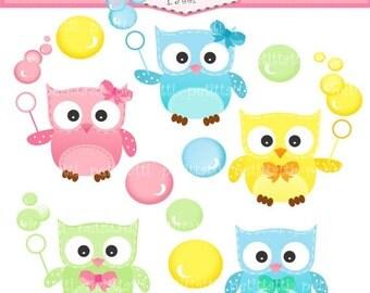 ON SALE owl clip art - Digital clip art - Owls and bubble clip art, instant download, owl clip art, cute owls clip art