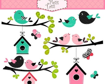 ON SALE birds clip art, butterfly clip art, bird house clip art - Digital clip art Birdhouse and birds, summer tree branch bird clipart
