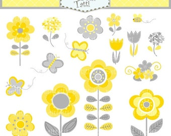 ON SALE Flowers Clip Art - Butterfly clip art, yellow and grey flowers clip art, Summer Garden clip art, Butterfly flowers, instant download