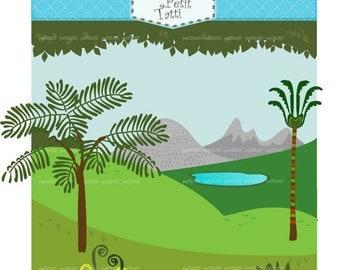 ON SALE Dinosaur Digital clip art, Background clip art, grass clip art, tree clip art, scenery clip art, dinosaurs, INSTANT Download