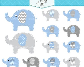 ON SALE elephant clip art - Digital clip art, cute elephant, blue and grey, instant download clip art