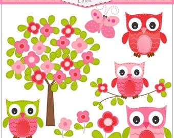 Owl clipart - Tree Clip Art , instant download Digital clip art, Owl and flowers tree, Pink , Red , Butterfly, ON SALE