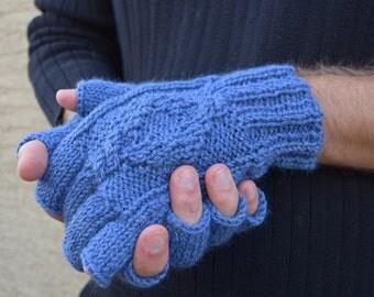 Knit men's fingerless gloves Glacier blue 100% wool gift for men