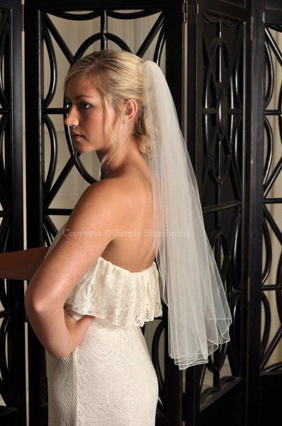 Wedding Veil - Pencil Edge, Short Veil, Silver or Gold Metallic Pencil Edge - Elbow Length