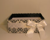 Damask and White  Wedding  Program Box Amenities Box Bathroom Accessories Box handkerchiefs Box - Customize your color