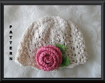 Knitted Hat Pattern Baby Hat Pattern Newborn Hat Pattern Infant Hat Pattern Baby Hat with Rose Children Clothing: LOVELY in LACE with a ROSE