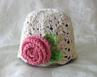 Baby Hat Knitting, Knit Baby Hat Cotton Knitted Hat with Rose Hand Knitted Baby Clothing Children Clothing  Knitted Lace Baby Hat