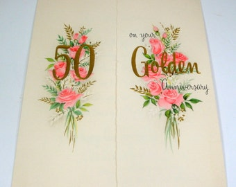 50 Year Wedding Anniversary Card, Golden Anniversary Greeting Card, Pink Roses, Flowers, Opens in Front, Embossed, Hallmark  (462-15)