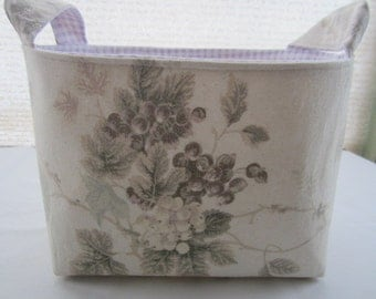 Organizer Storage Basket Bin Container Fabric - Shabby Rose Grapes