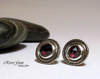 Garnet Stud Earrings, Gemstone Earrings, Sterling Silver, Aquarius, January Birthstone, Handmade by RiverGum Jewellery