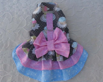 Dog Harness Dress Cupcakes Bow XS