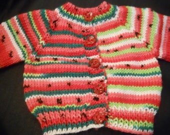 Self Striping Watermelon Yarn American Girl 18in. Doll Handknitted  Sweater and also fits Bitty Baby
