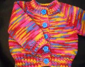 American Girl Bitty Baby Journey 18in Dolls Rainbow colors acrylic yarn handknit Sweater