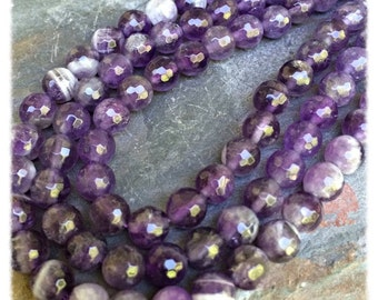 Amethyst Faceted 6mm Gemstone Round Beads