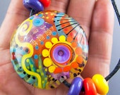 Flower Power  - Art Glass - 1 focal bead by Michou P. Anderson