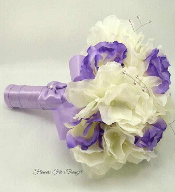 Lisianthus and Hydrangea bouquet, Purple white wedding flowers with rhinestones