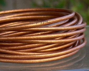2mm Metallic Copper Leather Cord 3 FT