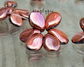 Pip Beads, Metallic Copper, Czech Preciosa Glass Beads: 30