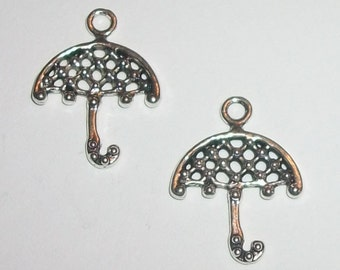 Clearance -- Umbrella charm pendants for jewelry making Antique silver 22x16mm 10 charms per lot (10456)