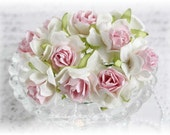 Mulberry Wild Roses~Light Pink and White Two Toned~ Set of 10 for Scrapbooking, Cardmaking, Altered Art, Wedding, Mini Album