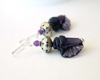 Dark Purple Lampwork Glass Earrings, Conch Shell Earrings, Nautical Earrings, Shell Earrings, Beaded Earrings, Ocean Beach Earrings