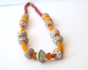Yellow Necklace, Lampwork Glass Necklace, Colorful Necklace, Artisan Necklace, Beaded Necklace, Long Necklace