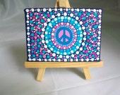 MINI Original Dot Peace Mandala Painting with Easel