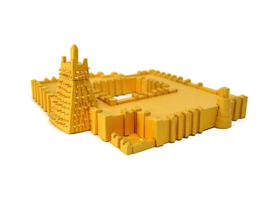 Timbuktu || Sankore Mosque paper model kit || gold color with a slightly shiny metallic overcoat