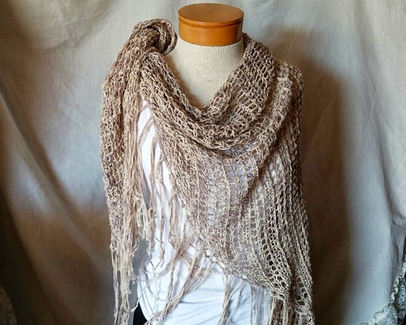 Large lace shawl  Spring knit wrap Slate blue Off white linen cotton blend Long fringed triangle  Summer shawl