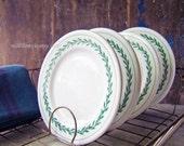 Vintage Restaurant Plates, Appetizer Plates, Restaurant China, Ironstone Bread Plate, Dessert Plate, Green Garland Design, Walker China