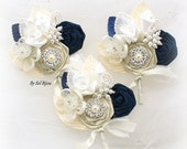 Corsages, Ivory, Cream, Navy Blue, White, Boutonnieres, Groomsmen, Groom, Mother of the Bride, Button Holes, Pearls, Crystals, Elegant