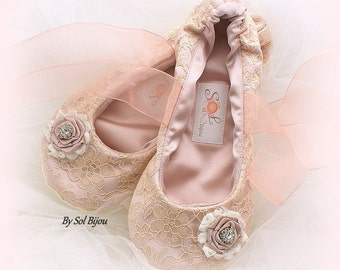Ballet Flats, Rose, Gold, Ivory, Rose Gold, Blush, Wedding Flats, Lace Flats, Wedding Shoes, Ballet Slippers, Flower Girl Flats, Elegant