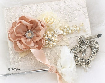 Wedding Guest Book, Blush,  Ivory, Cream, Lace Guest Book, Vintage Wedding, Birthday, Sign In Book, Anniversary, Elegant,Signature Book, Pen