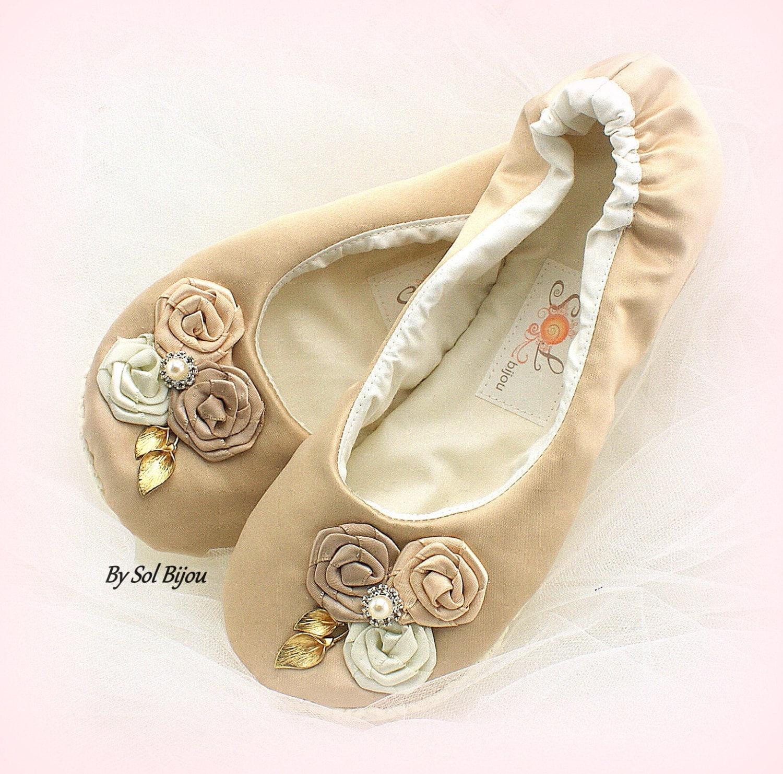Wedding Flats Champagne Tan Gold Ballet Flats Maid of