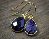 Midnight Blue Sunstone Earrings - Dangle - 14K Gold Fill
