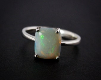 50% OFF SALE - Multi-Colored Australian Opal Ring - Choose Your Opal - Silver