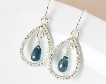 Silver London Blue Topaz Earrings - Pave White Topaz - Teardrop Earrings