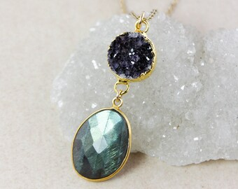 Druzy and Blue Labradorite Tiered Pendant Necklace – Choose Your Labradorite