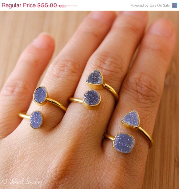 sale dual gemstone ring grey druzy rings by ohkuol