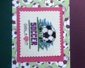 Soccer Cross Stitch Card for Girls